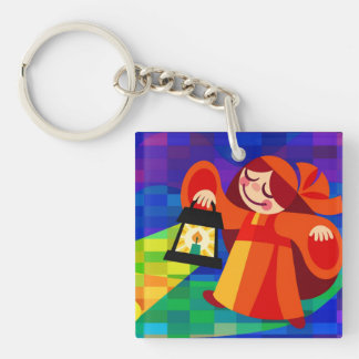 Lamp Girl Double-Sided Square Acrylic Keychain