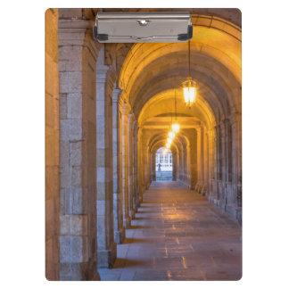 Lamp lit stone hallway, spain clipboard