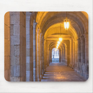 Lamp lit stone hallway, spain mouse pad