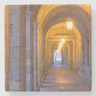 Lamp lit stone hallway, spain stone coaster