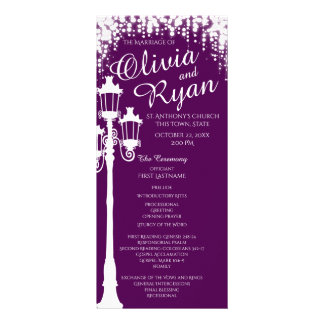 Lamp Post Industrial Glam Sparkle Purple Rack Card Design