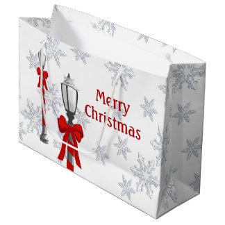 Lamp Post Snowflakes Christmas LGB Large Gift Bag
