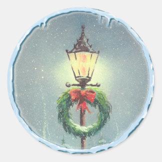 LAMP POST & WREATH by SHARON SHARPE Round Sticker