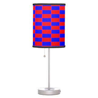 Lamp & shade, Blue & Red Check – Pixellated effect