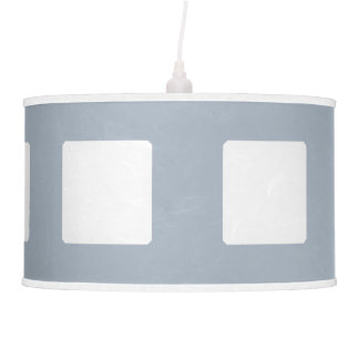 Lamp Shade, White and Blue, Grid Design