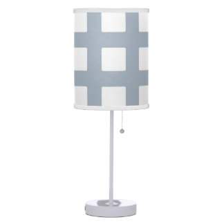 Lamp Shade, White and Blue  Grid Design