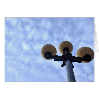 Lamppost Against Clouds Blank Greeting Card