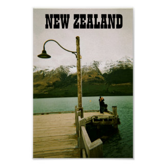 Lamppost and Mountains - New Zealand Poster