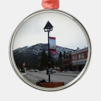Lamppost in Banff, Alberta Silver-Colored Round Ornament