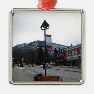 Lamppost in Banff, Alberta Silver-Colored Square Ornament
