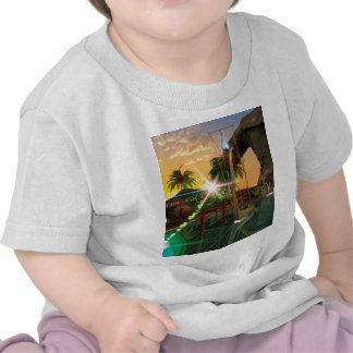 Lamps boat at the jetty in the sunset tee shirts