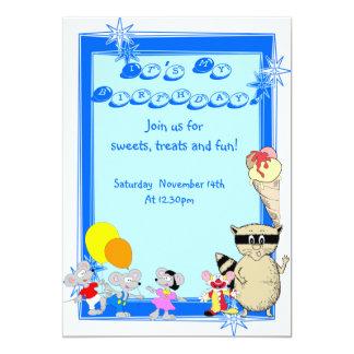 L'amusement badine la fête d'anniversaire de bande carton d'invitation  12,7 cm x 17,78 cm