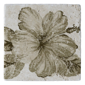 Lanai Distressed Hawaiian Hibiscus - Brown Trivet