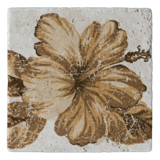 Lanai Distressed Hawaiian Hibiscus - Cocoa Brown Trivet