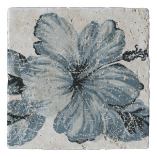 Lanai Distressed Hawaiian Hibiscus - Indigo Blue Trivet