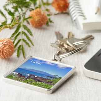 Lanai from Maui Silver-Colored Square Keychain