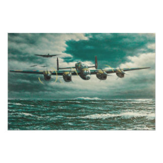 Lancaster Bombers over sea Poster