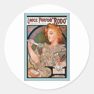 Lance Parfum ~ Rodo ~ Alphonse Mucha Classic Round Sticker