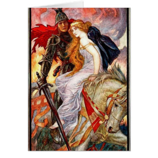 Lancelot and Guinevere on Horseback, Card