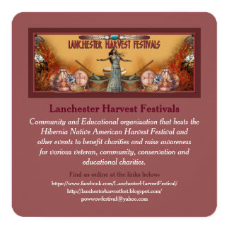 """Lanchester Harvest Festivals and PowWow 5.25"""" Square Invitation Card"""