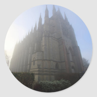Lancing Chapel in the mist, West Sussex, England, Classic Round Sticker