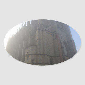 Lancing Chapel in the mist, West Sussex, England, Oval Sticker
