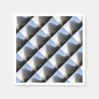 Lancing Chapel in the mist, West Sussex, England, Paper Napkin