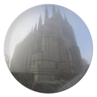 Lancing Chapel in the mist, West Sussex, England, Plate