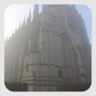 Lancing Chapel in the mist, West Sussex, England, Square Sticker