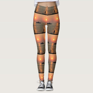 Land And Sea Sunset Leggings