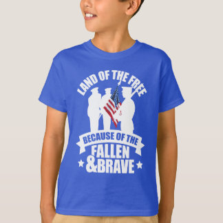 Land of Free Because of Fallen & Brave T-Shirt