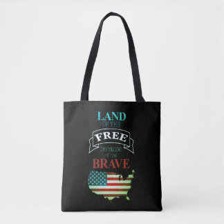 Land of freedom thanks to the brave ones tote bag
