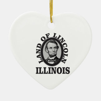 land of lincoln portrait ceramic ornament