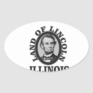 land of lincoln portrait oval sticker