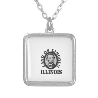 land of lincoln portrait silver plated necklace