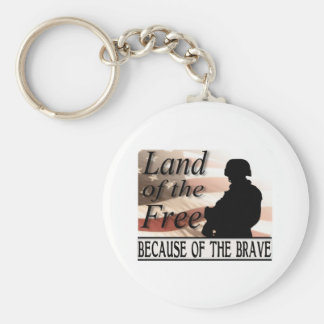 Land of the Free Because of the Brave Keychain