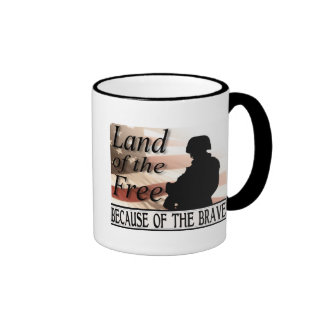 Land of the Free Because of the Brave Ringer Mug