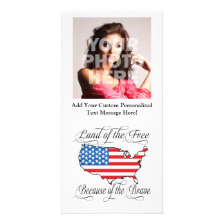 Land of the Free because of the Brave Patriotic US Photo Card Template