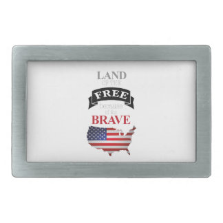 Land of the free because of the brave rectangular belt buckle