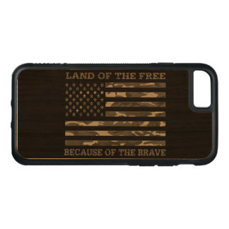 Land Of the Free Because of The Brave Urban Camo Carved iPhone 8/7 Case