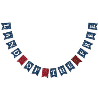 Land of the Free Stars Patriotic Bunting Flags