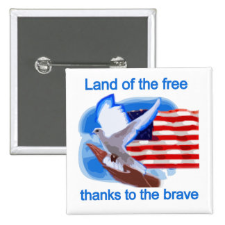 Land of the Free Tshirts and Gifts 2 Inch Square Button