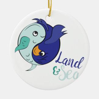 Land & Sea Round Ceramic Ornament
