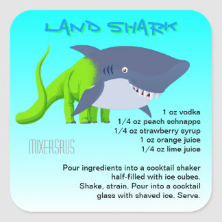 Land Shark Drink Recipe Square Sticker