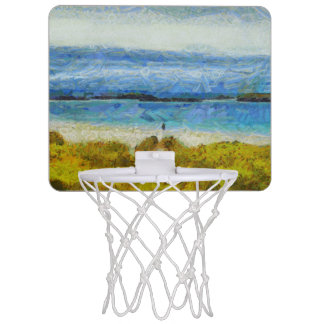 Land strip in water mini basketball hoop