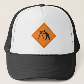 Land Surveyor at Work Sign on Hat
