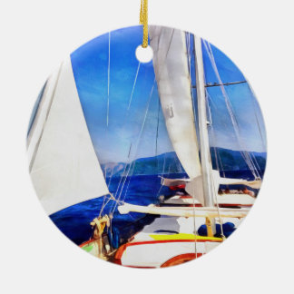 Land Was Created For Boats To Visit Round Ceramic Ornament