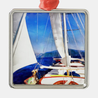 Land Was Created For Boats To Visit Silver-Colored Square Ornament