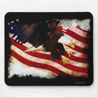 Landing Bald Eagles & U.S. Flag Patriotic Mousemat Mouse Pad