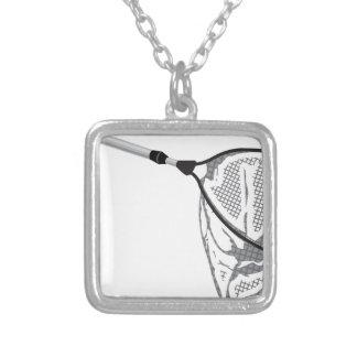 Landing fishing net vector illustration clip-art silver plated necklace
